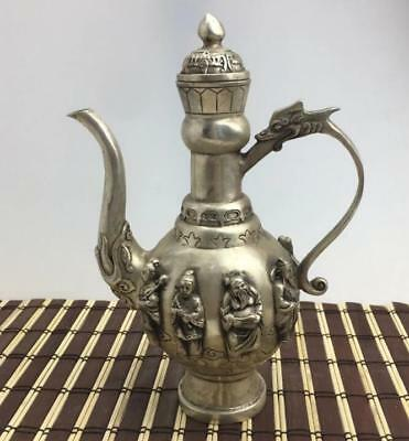 chinese old cupronickel copper hand engraving Eight Immortals Flagon teapot
