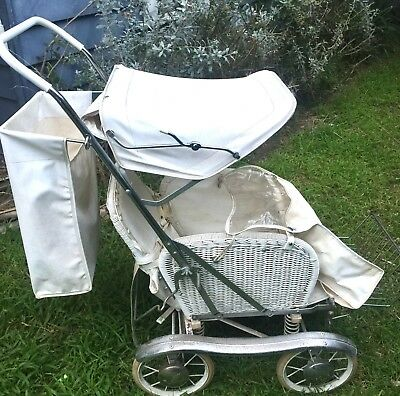 Gorgeous Original White Chrome Wicker Doll Dog Bear Pram Great Vintage Condition
