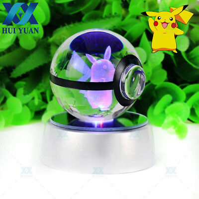 3D LED Night Lamp Crystal Pokemon Pikachu Light Table Desk Gift Pokeball 50mm