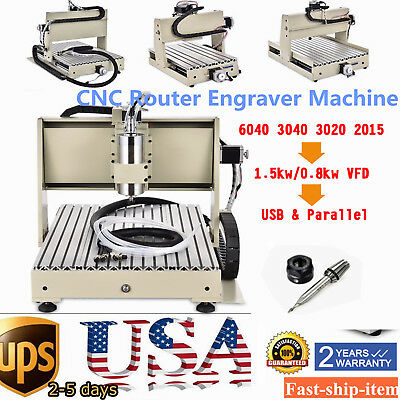 1.5KW Spindle 3 /4 Axis CNC Router Engraver Engraving Drilling Milling Machine