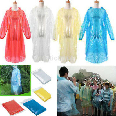 10PC Disposable Raincoat Waterproof Emergency Poncho Cape Adult Camping Festival
