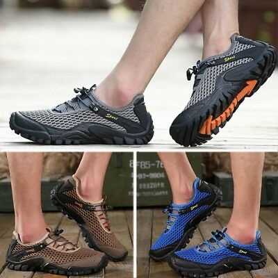 Men Outdoor Lycra Mesh Breathable Shock Absorption Hiking Shoes Running Sport