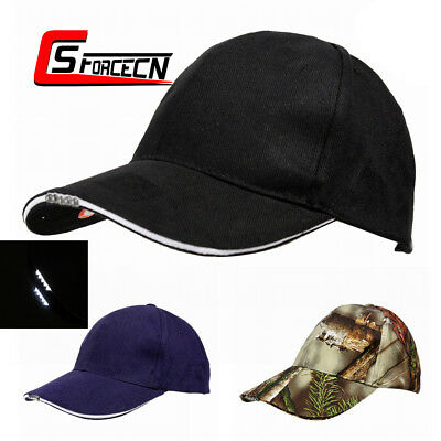 Battery Powered Hat Unisex Camouflage Baseball Cap with 5 LED Lights Outdoor