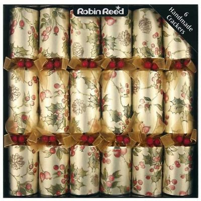 Robin Reed Luxury Merry Berry Christmas Xmas Gold Handmade Crackers - 6 Pack