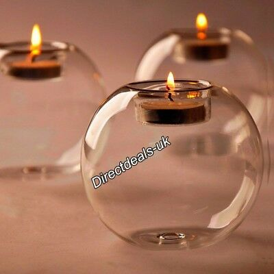 6pcs Clear Glass Sphere Bauble Candle Tea Light Holder Stand Valentine Xmas Cafe