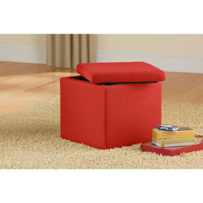 Ottoman Bench Storage Seat Suede Ultra Modern Cube Home Decor Furniture Red  New