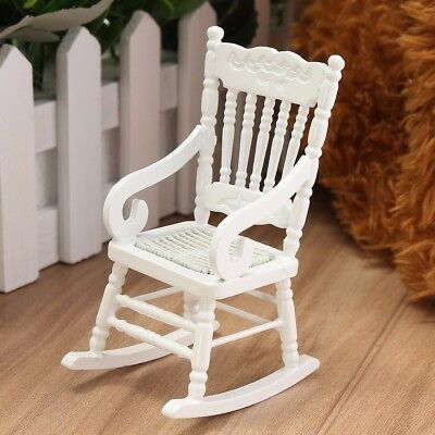 New 1:12 Dollhouse Miniature Furniture White Wooden Rocking Chair Hemp Rope Seat