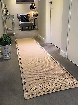 KITCHEN RUG BEIGE BLK Multi purpose DHURRIE Hand Made COTTON Runner 60x270 Bath