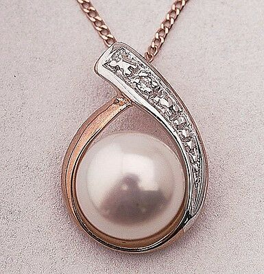 Real 9ct Rose Gold, Real Fresh Water Pearl Real Diamond Ladies 9ct Pendant Chain
