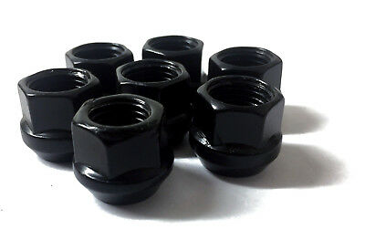 20 Shallow Open Ended Wheel Nuts 17mm Hex - Black - M12 x 1.25