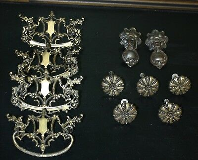 11 ANTIQUE/VINTAGE FANCY DRAWER PULLS, KNOBS & DROPS - ALL w/MOUNTING HARDWARE