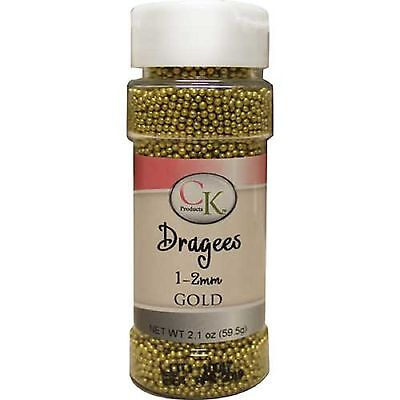 CK GOLD 1-2mm sugar pearls / cachous / dragees 59.5g - edible cake decorations