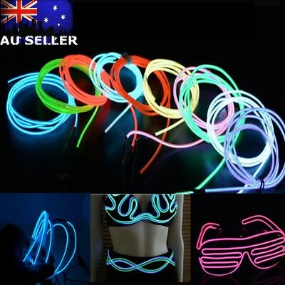 5M Flexible Neon LED Light Glow EL Strip Tube Wire Rope Party+Battery Box AU HOT