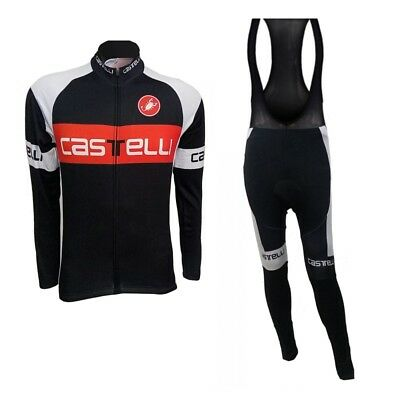 Team Castelli Winter Roubaix Fleece Lined Cycling Jersey & Padded Bib Tights Set