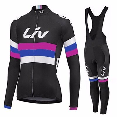 Team Giant Liv Winter Roubaix Fleece Lined Cycling Jersey & Pad Bib Tights Set