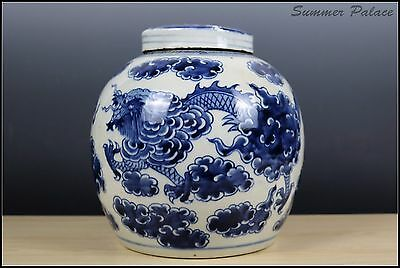 Very Beautiful Chinese Blue and White Porcelain Dragon Pot