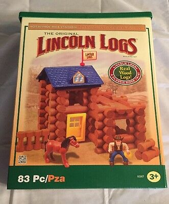 The Original Lincoln Logs Horseshoe Hill Station 81 Pieces Real Wood Logs