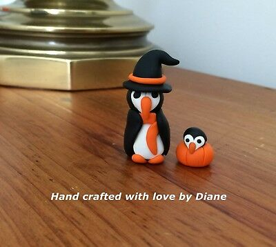 Miniature Hand Crafted Polymer Clay Penguin Witch and Baby in Pumpkin