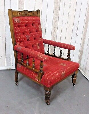 An Antique Edwardian Walnut Button Back Fireside Chair ~Delivery Available~