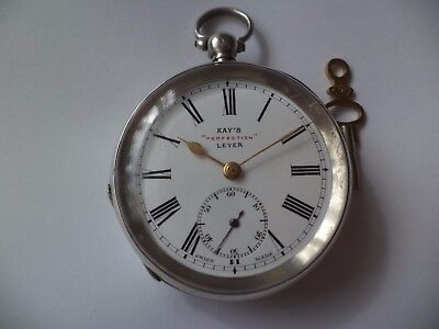 Antique 'kay's Perfection Lever' Solid Silver  Pocket Watch,working