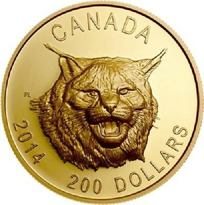 Kanada - 200 Dollar 2014 - Kanadischer Luchs Ultra High Relief - Gold PP