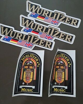 Qty 5 - vintage Wurlitzer stickers or decals
