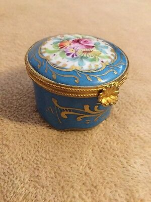 Vintage Hand Decorated Limoges Vanity Trinket Box Blue NICE