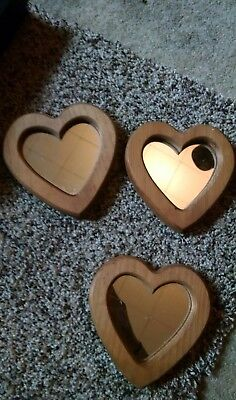 Vintage Homco Home Interior 3 Wooden Heart Mirror Wall Plaques