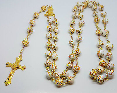 Rose Gold Prayer Rosary 8mm Bead Beads Necklace White Tone Crucifix SALE