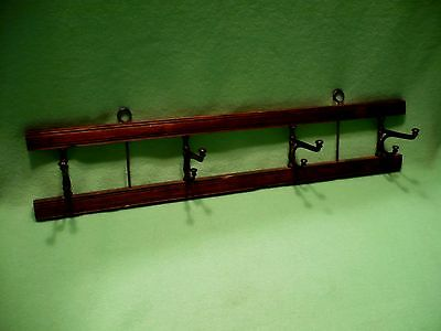 "Antique rustic WOOD & CAST IRON 4 hook fold back coat rack.21"" L 4 7/8 H 3 1/4 D"