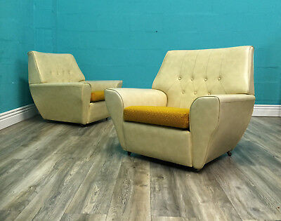 Very Stylish Vintage Retro Mid Century Pair Of Armchairs