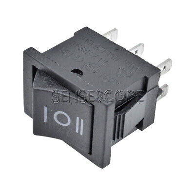 5PC DPDT ON-OFF-ON 3 Position Snap Boat Rocker Switch 6Pin AC 6A/250V 10A/125V M