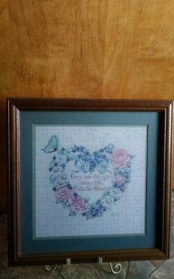 "Home Interior Homco Heart Shaped Flower Picture ""Every New Day"" 17"" X 17"""