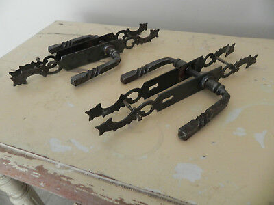 2 Pairs (Or 1 Pair ) Of Rustic Antique French Door Handles / Escutcheon Plates