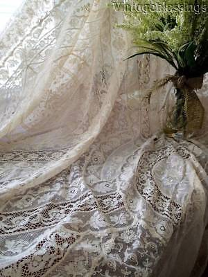 """Exceptional Antique French Normandy Lace Coverlet Bedspread LARGE 99x82"""""""