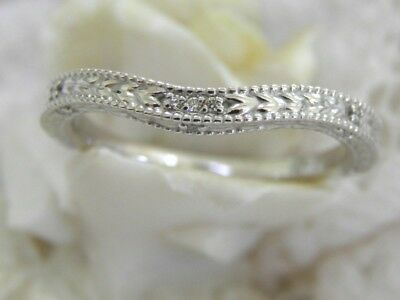 Antique Style Solid 14Kt Wg Diamond Wedding Band Filigree Etched Deco Curve Ring