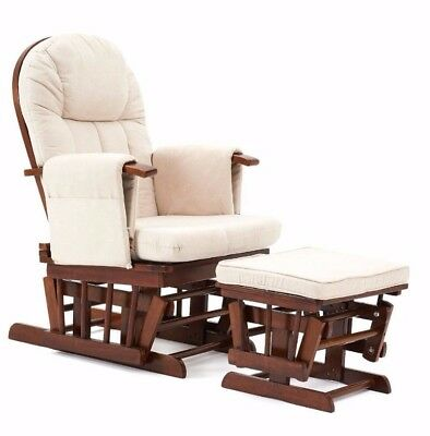 Mothercare Reclining Glider & Footstool - Walnut with beige cushion [Grade B]