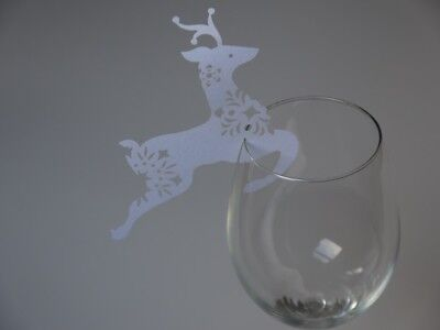 6 Reindeer Xmas Name Place Cards Glass Christmas Dinner Table Glitter Decoration