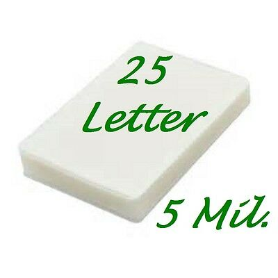 Laminating Laminator Pouches Sheets 25- Letter Size  9 x 11.50  5 Mil