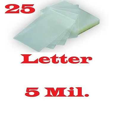 Laminating Laminator Pouches Sheets  25 Letter 9 x 11-1/2  5 Mil.