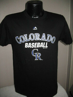 finest selection a9ce2 60e67 MLB Colorado Rockies Baseball Authentic Collection T Shirt Mens Majestic  Black