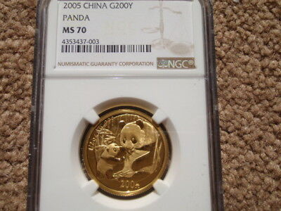 2005 China G200 half ounce Gold Panda Coin NGC MS 70