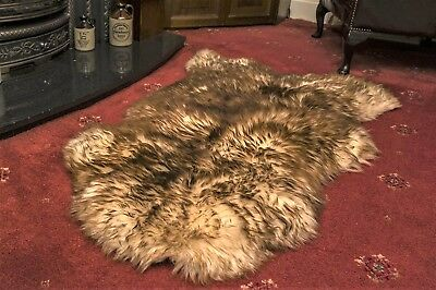 Real sheepskin rug throw blanket spiced brown Genuine natural Soft thick wool