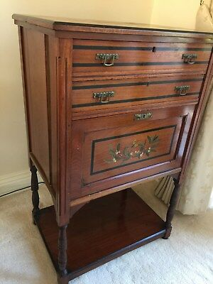 Antique Bureau. 2 drawers and flap cupboard. Inlaid and painted detail.