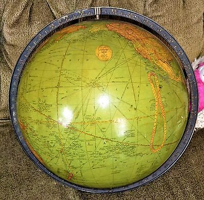 """VTG 1937 1938 Replogle 16"""" Library Globe Excellent No Stand"""