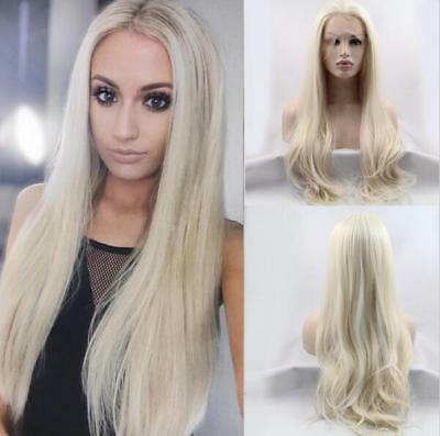 "24"" Heat Resistant Lace Front Wig Synthetic Hair Natural Wavy Lightest Blonde"