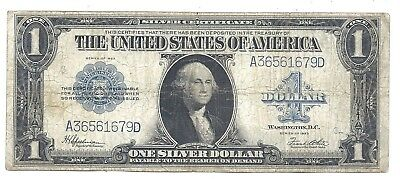 USA 1 Dollar 1923 at (aVF) Condition Banknote Silver Certificate Blue Seal
