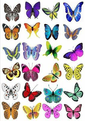 24 X Large Colourful 5Cm Dia Mixed Butterflies - Edible Cupcake Toppers - L1