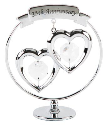 25th Anniversary Silver Plated Keepsake Gift with Clear Swarvoski Crystals
