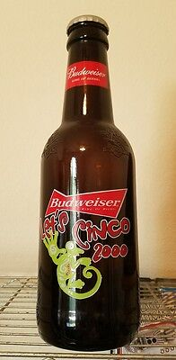 Budweiser Cinco 2000, Collectable, Large Glass Bottle.